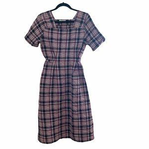 Oak and Fort Square Neck Plaid Dress